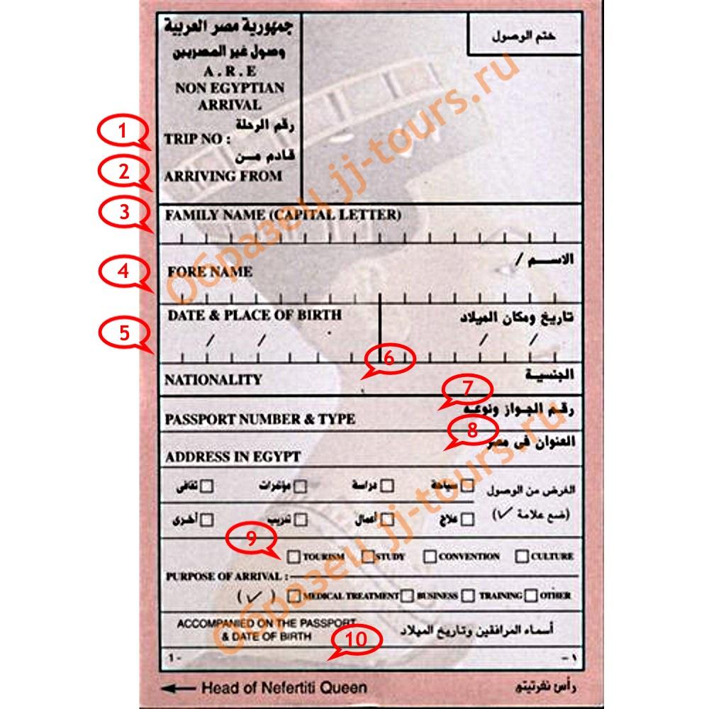 Образец Визы в Египет