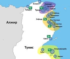 Карта Туниса с курортами и аэропортами