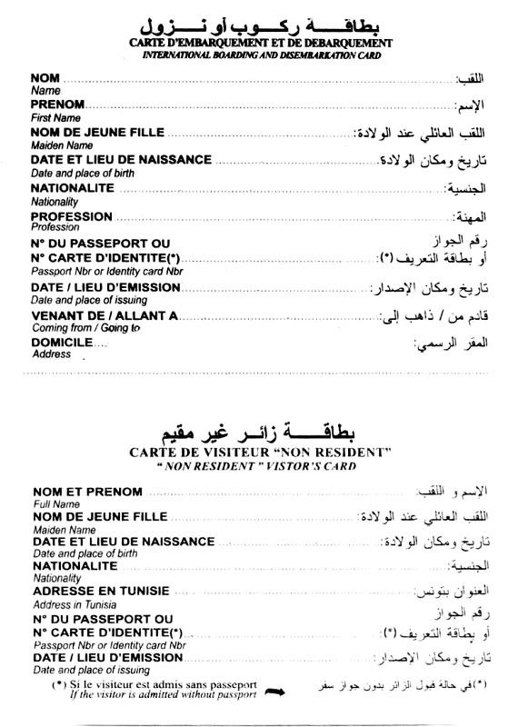 миграционная карта туниса бланк скачать - фото 4