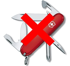 Не берите с собой швейцарские ножи, их нельзя проносить в самолет
