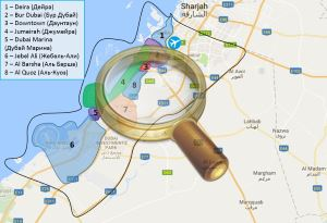Карта Дубая с районами и курортами